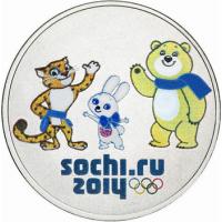 25 рублей Сочи 2014 талиманы, цветная олимпийская монета